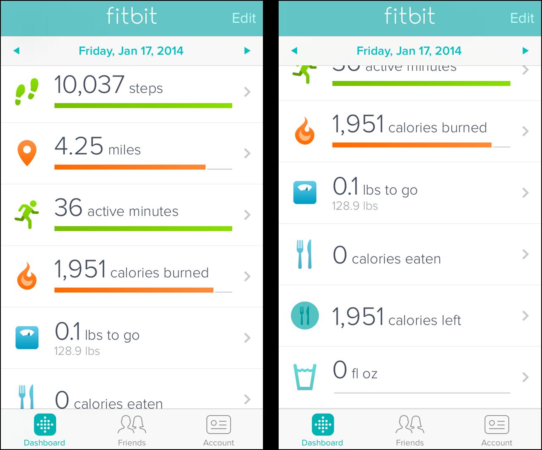 fitbit application calories bracelet sport connecte